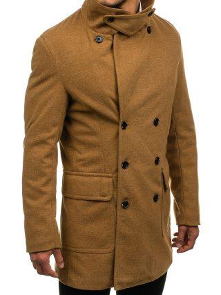 męski płaszcz camelowy